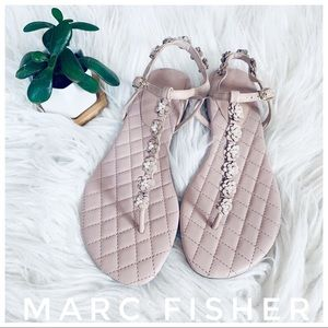 MARC FISHER blush pink leather and pearl sandals